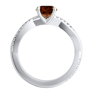 VIOLA  Modern  Brown  Diamond  Engagement  Ring  In  14K  White  Gold  With  0.50  Carat  Round  Diamond