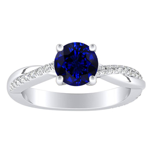 VIOLA  Modern  Blue  Sapphire  Engagement  Ring  In  14K  White  Gold  With  0.50  Carat  Round  Stone