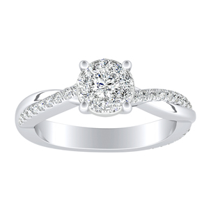VIOLA Modern Diamond Engagement Ring In 14K White Gold With Round Diamond In H-I SI1-SI2 Quality