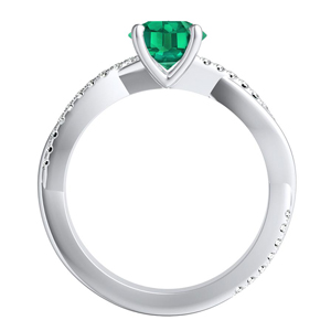 VIOLA  Modern  Green  Emerald  Engagement  Ring  In  14K  White  Gold  With  0.50  Carat  Round  Stone