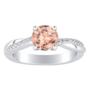 VIOLA Modern Morganite Engagement Ring In 14K White Gold With 1.00 Carat Round Stone
