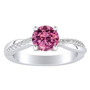 VIOLA  Modern  Pink  Sapphire  Engagement  Ring  In  14K  White  Gold  With  0.50  Carat  Round  Stone