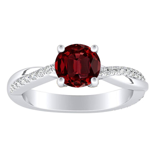 VIOLA Modern Ruby Engagement Ring In 14K White Gold With 0.30 Carat Round Stone