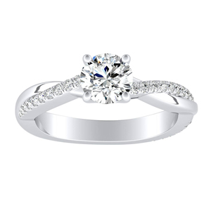 VIOLA Modern Moissanite Engagement Ring In 14K White Gold With 0.50 Carat Round Stone