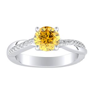 VIOLA Modern Yellow Diamond Engagement Ring In 14K White Gold With 0.30 Carat Round Diamond