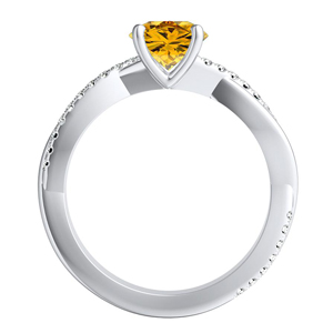 VIOLA  Modern  Yellow  Diamond  Engagement  Ring  In  14K  White  Gold  With  0.50  Carat  Round  Diamond