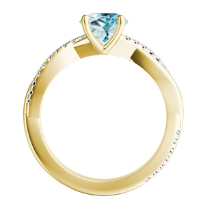 VIOLA  Modern  Aquamarine  Engagement  Ring  In  14K  Yellow  Gold  With  1.00  Carat  Pear  Stone