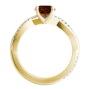 VIOLA  Modern  Brown  Diamond  Engagement  Ring  In  14K  Yellow  Gold  With  0.50  Carat  Round  Diamond
