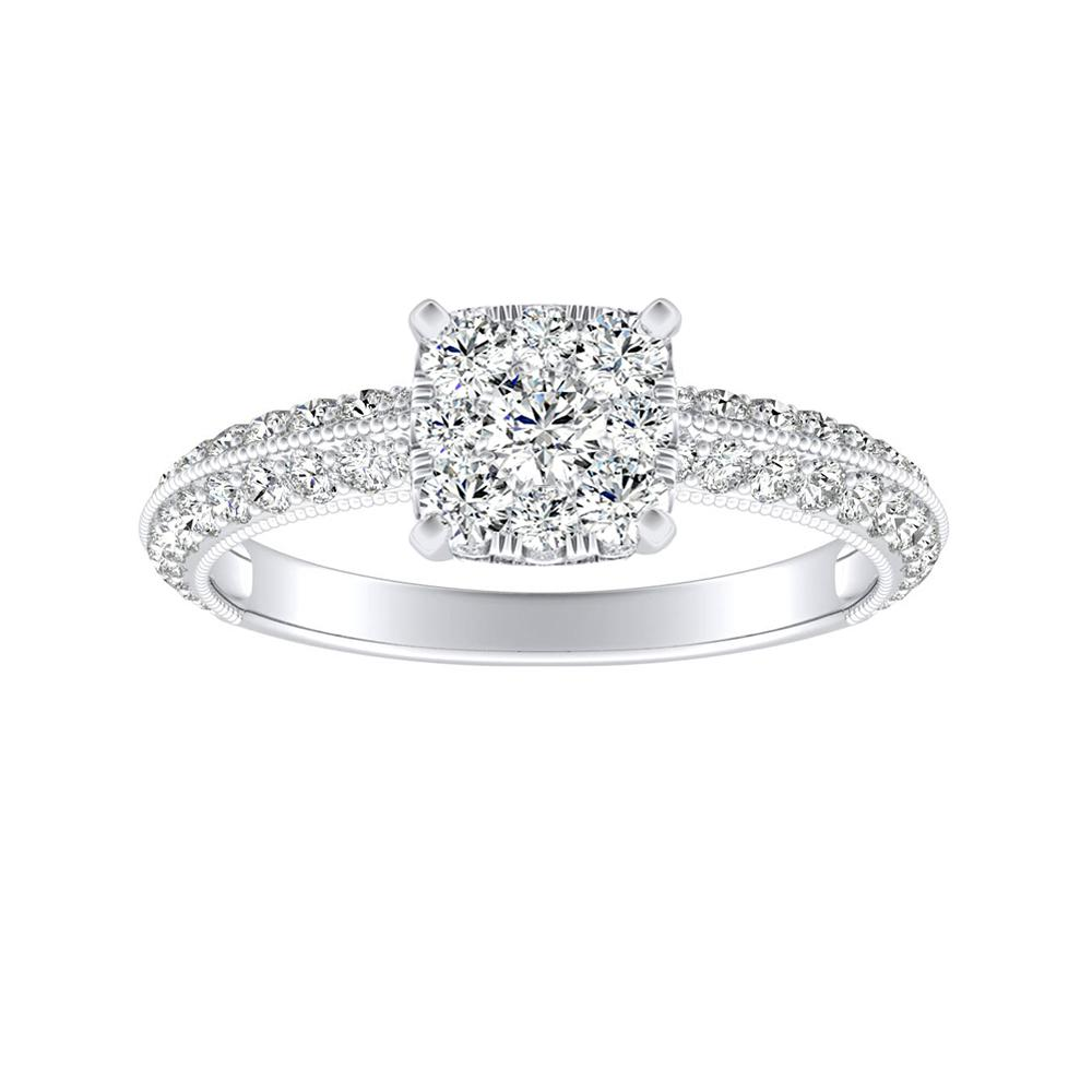 ZOEY Diamond Engagement Ring In 14K White Gold With Cushion Diamond In H-I SI1-SI2 Quality