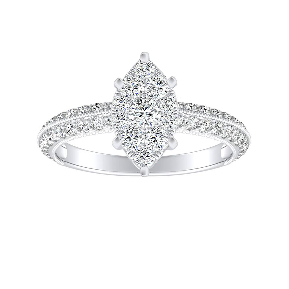 ZOEY Diamond Engagement Ring In 14K White Gold With Marquise Diamond In H-I SI1-SI2 Quality