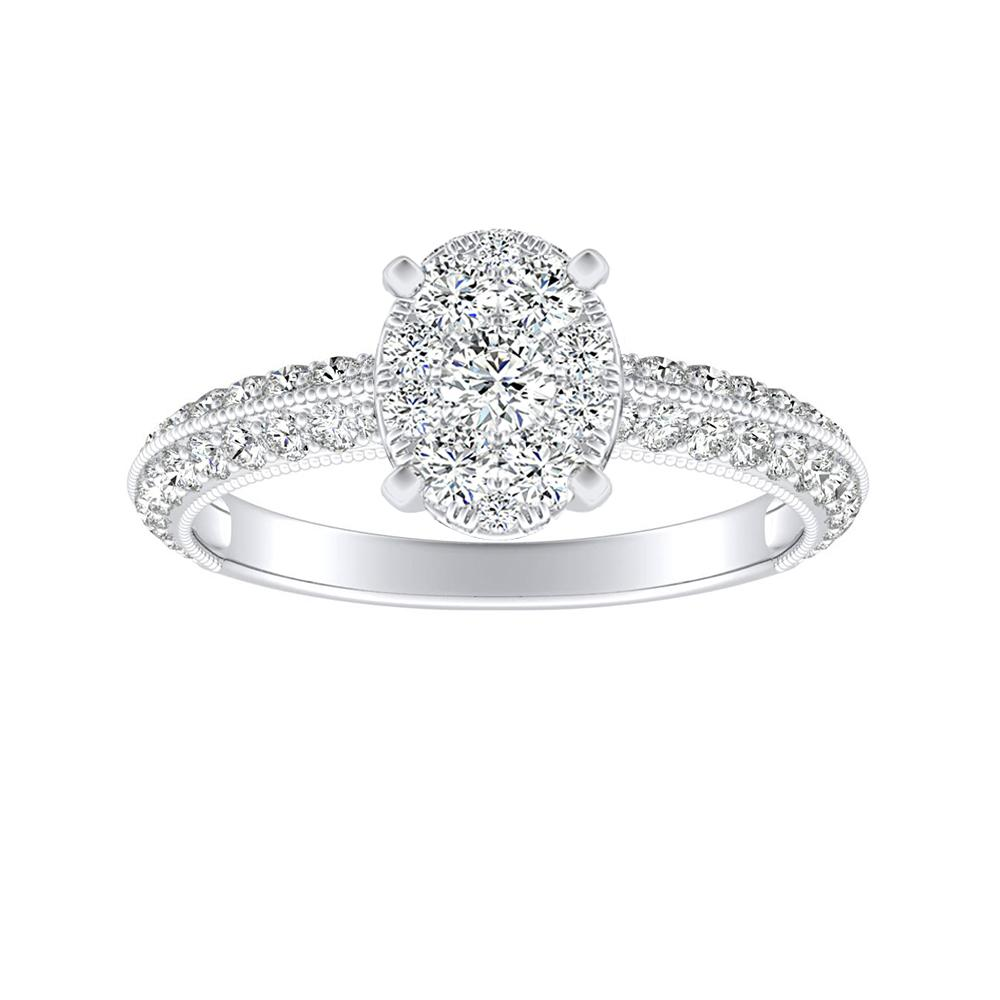 ZOEY Diamond Engagement Ring In 14K White Gold With Oval Diamond In H-I SI1-SI2 Quality