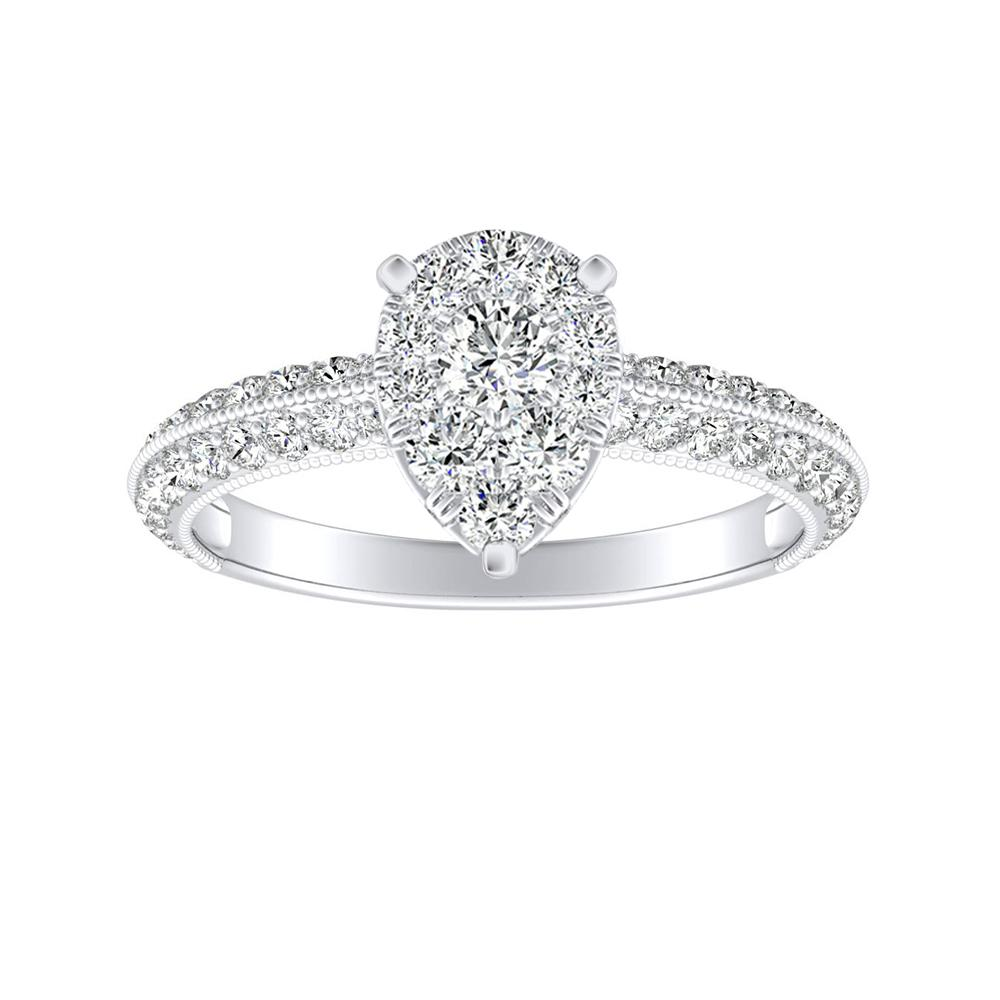 ZOEY Diamond Engagement Ring In 14K White Gold With Pear Diamond In H-I SI1-SI2 Quality