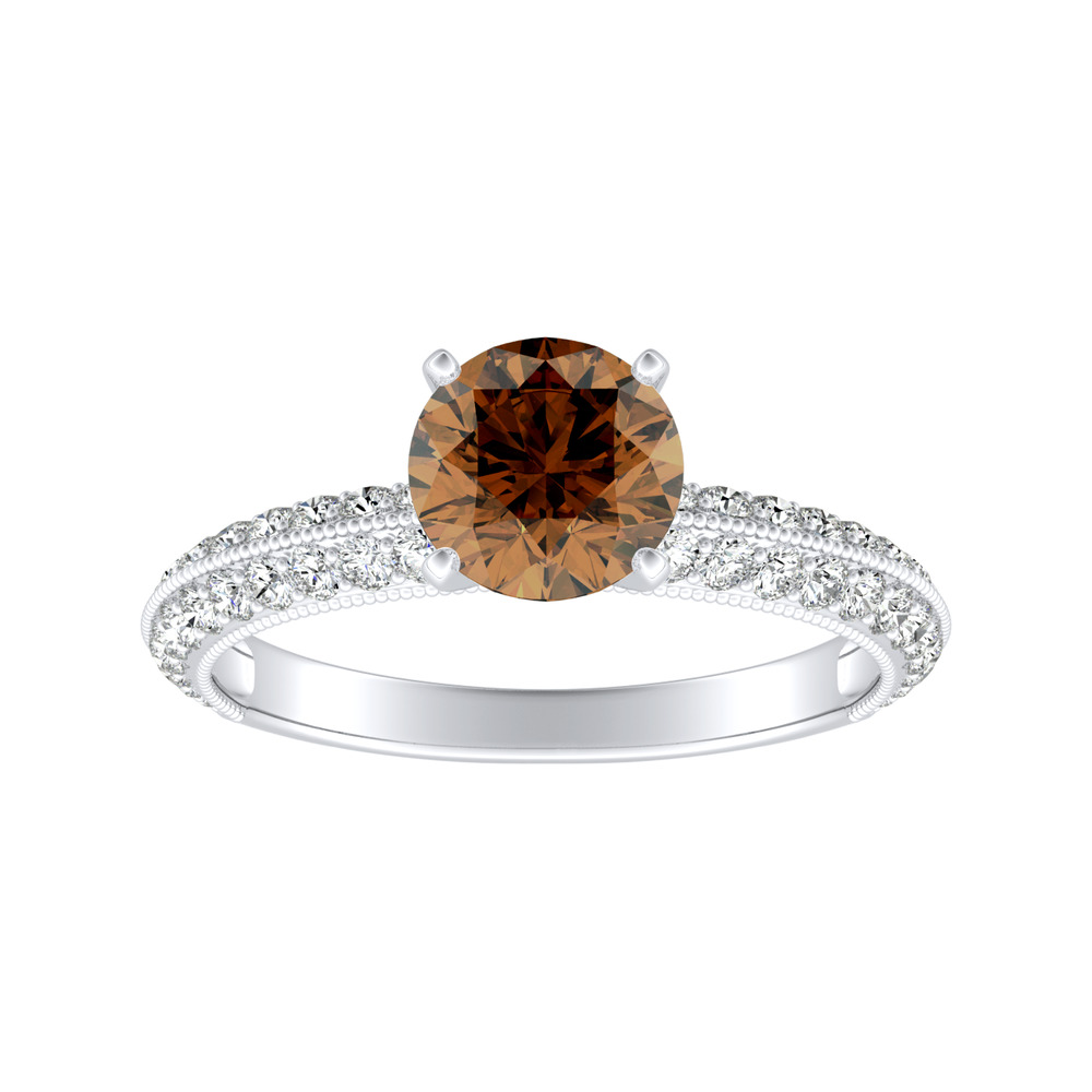 ZOEY Brown Diamond Engagement Ring In 14K White Gold With 0.50 Carat Round Diamond