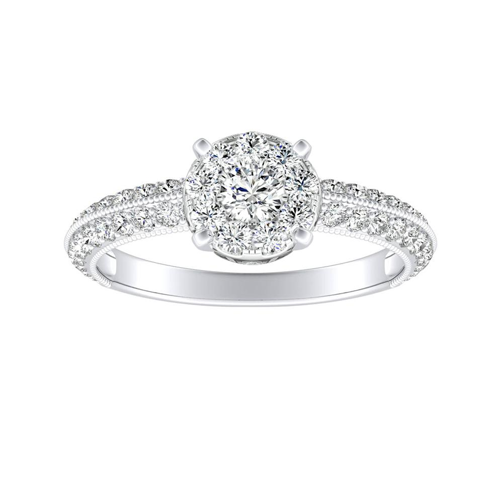 ZOEY Diamond Engagement Ring In 14K White Gold With Round Diamond In H-I SI1-SI2 Quality