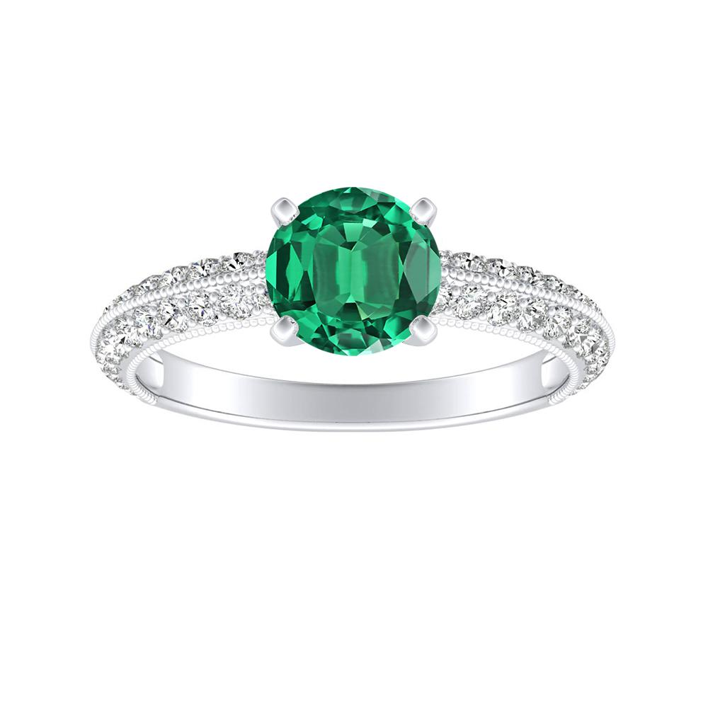 ZOEY Green Emerald Engagement Ring In 14K White Gold With 0.50 Carat Round Stone