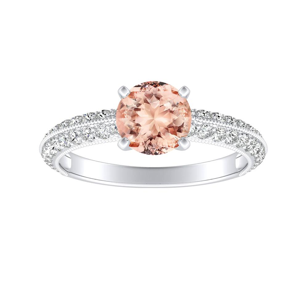 ZOEY Morganite Engagement Ring In 14K White Gold With 1.00 Carat Round Stone