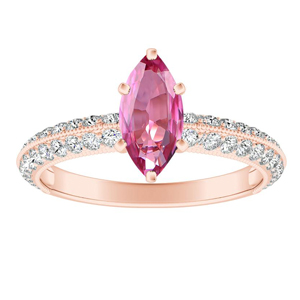 ZOEY  Pink  Sapphire  Engagement  Ring  In  14K  Rose  Gold  With  0.50  Carat  Marquise  Stone