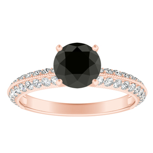 ZOEY  Black  Diamond  Engagement  Ring  In  14K  Rose  Gold  With  1.00  Carat  Round  Diamond