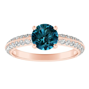 ZOEY  Blue  Diamond  Engagement  Ring  In  14K  Rose  Gold  With  0.50  Carat  Round  Diamond