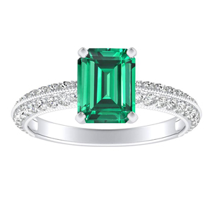ZOEY  Green  Emerald  Engagement  Ring  In  14K  White  Gold  With  0.50  Carat  Emerald  Stone