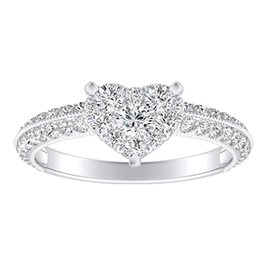 ZOEY Diamond Engagement Ring In 14K White Gold With Heart Diamond In H-I SI1-SI2 Quality