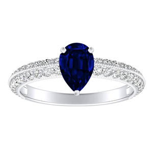 ZOEY  Blue  Sapphire  Engagement  Ring  In  14K  White  Gold  With  0.50  Carat  Pear  Stone