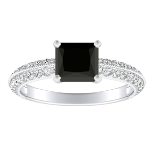 ZOEY  Black  Diamond  Engagement  Ring  In  14K  White  Gold  With  1.00  Carat  Princess  Diamond