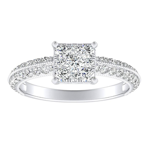 ZOEY Diamond Engagement Ring In 14K White Gold With Princess Diamond In H-I SI1-SI2 Quality