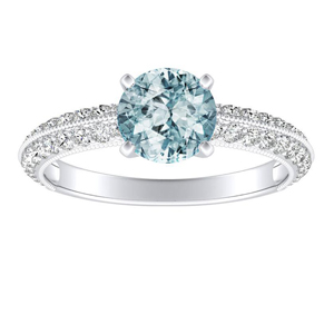 ZOEY Aquamarine Engagement Ring In 14K White Gold With 1.00 Carat Round Stone