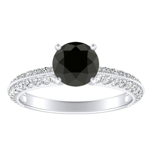 ZOEY  Black  Diamond  Engagement  Ring  In  14K  White  Gold  With  1.00  Carat  Round  Diamond
