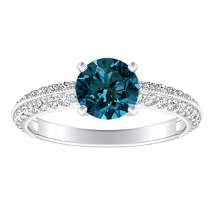 ZOEY Blue Diamond Engagement Ring In 14K White Gold With 0.30 Carat Round Diamond