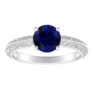 ZOEY Blue Sapphire Engagement Ring In 14K White Gold With 0.30 Carat Round Stone