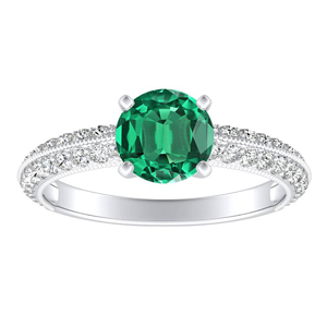 ZOEY Green Emerald Engagement Ring In 14K White Gold With 0.30 Carat Round Stone