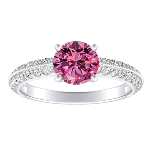 ZOEY Pink Sapphire Engagement Ring In 14K White Gold With 0.50 Carat Round Stone
