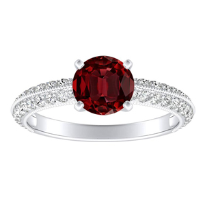 ZOEY Ruby Engagement Ring In 14K White Gold With 0.50 Carat Round Stone