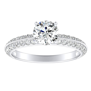 ZOEY Moissanite Engagement Ring In 14K White Gold With 0.50 Carat Round Stone