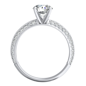 ZOEY  Moissanite  Wedding  Ring  Set  In  14K  White  Gold  With  0.50  Carat  Round  Stone
