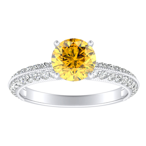 ZOEY Yellow Diamond Engagement Ring In 14K White Gold With 0.30 Carat Round Diamond
