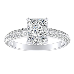 ZOEY Diamond Engagement Ring In 14K White Gold With Radiant Diamond In H-I SI1-SI2 Quality