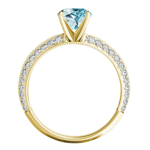 ZOEY  Aquamarine  Engagement  Ring  In  14K  Yellow  Gold  With  1.00  Carat  Pear  Stone