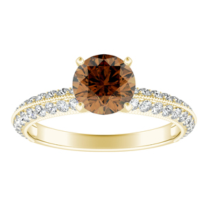 ZOEY  Brown  Diamond  Engagement  Ring  In  14K  Yellow  Gold  With  0.50  Carat  Round  Diamond