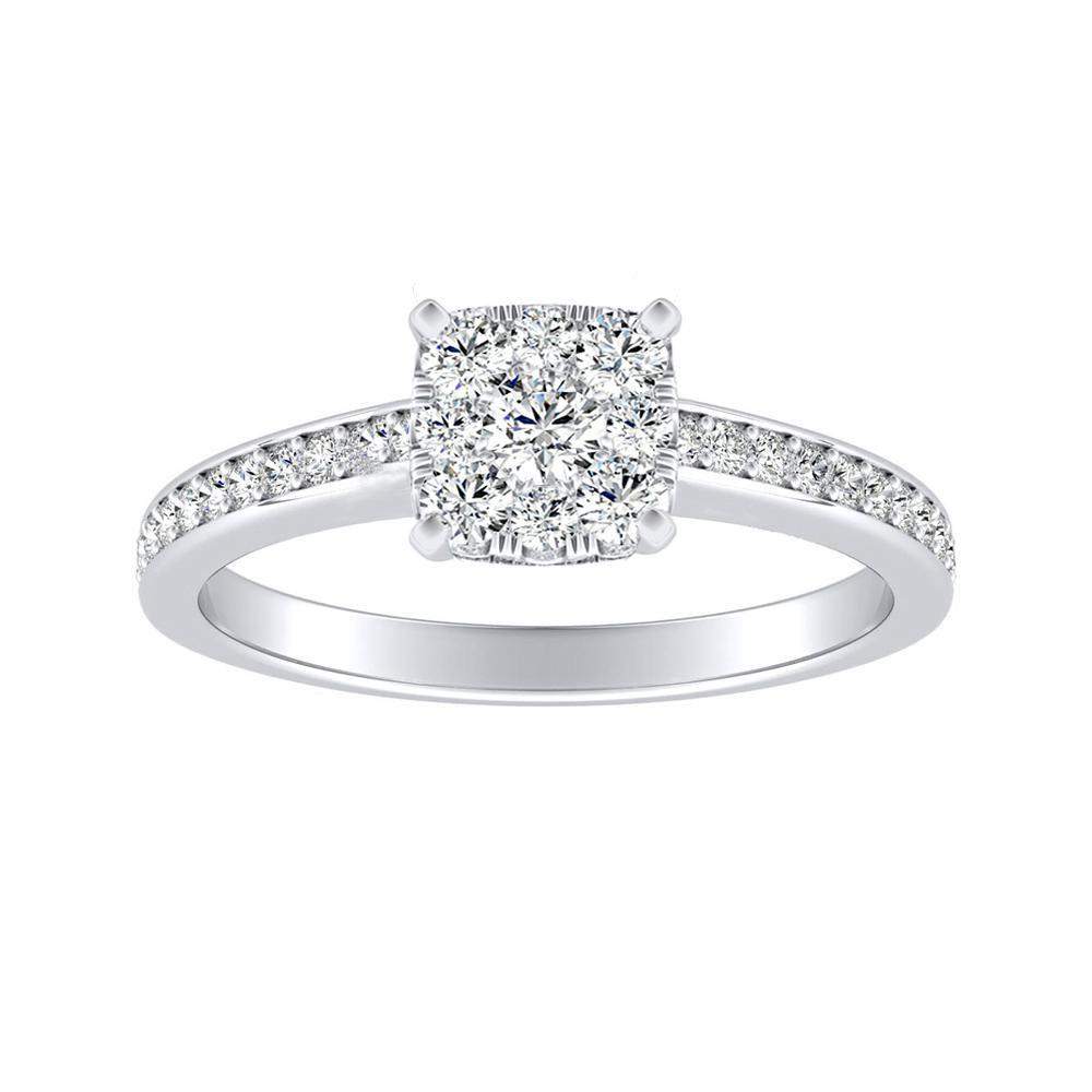 MILA Classic Diamond Engagement Ring In 14K White Gold With Cushion Diamond In H-I SI1-SI2 Quality