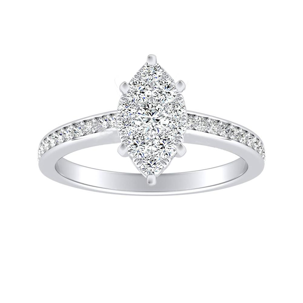 MILA Classic Diamond Engagement Ring In 14K White Gold With Marquise Diamond In H-I SI1-SI2 Quality