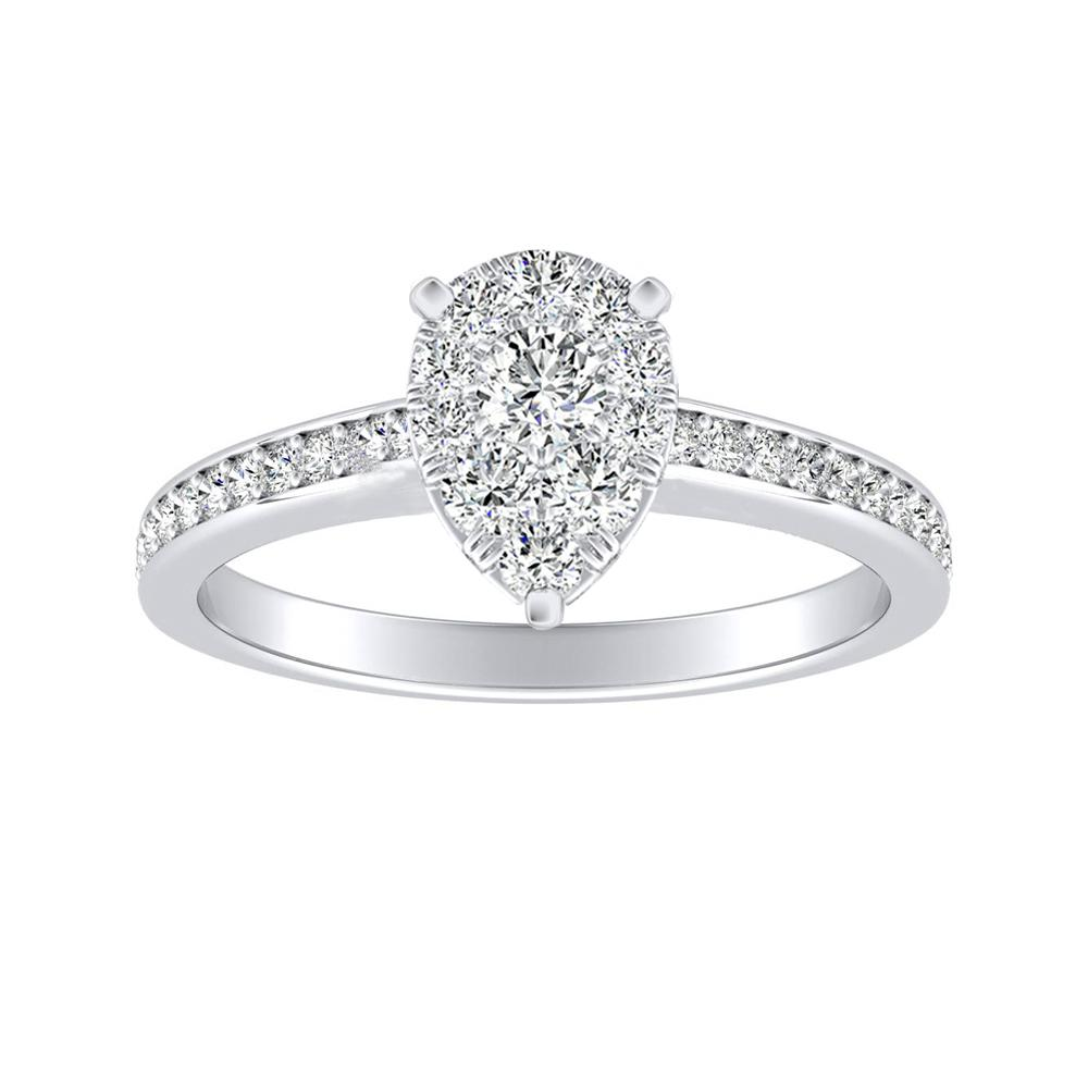 MILA Classic Diamond Engagement Ring In 14K White Gold With Pear Diamond In H-I SI1-SI2 Quality