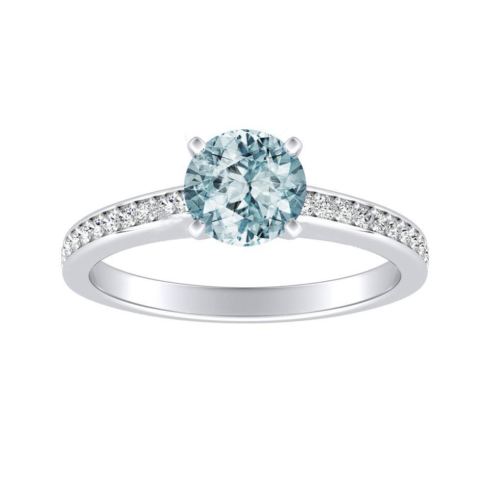 MILA Classic Aquamarine Engagement Ring In 14K White Gold With 1.00 Carat Round Stone