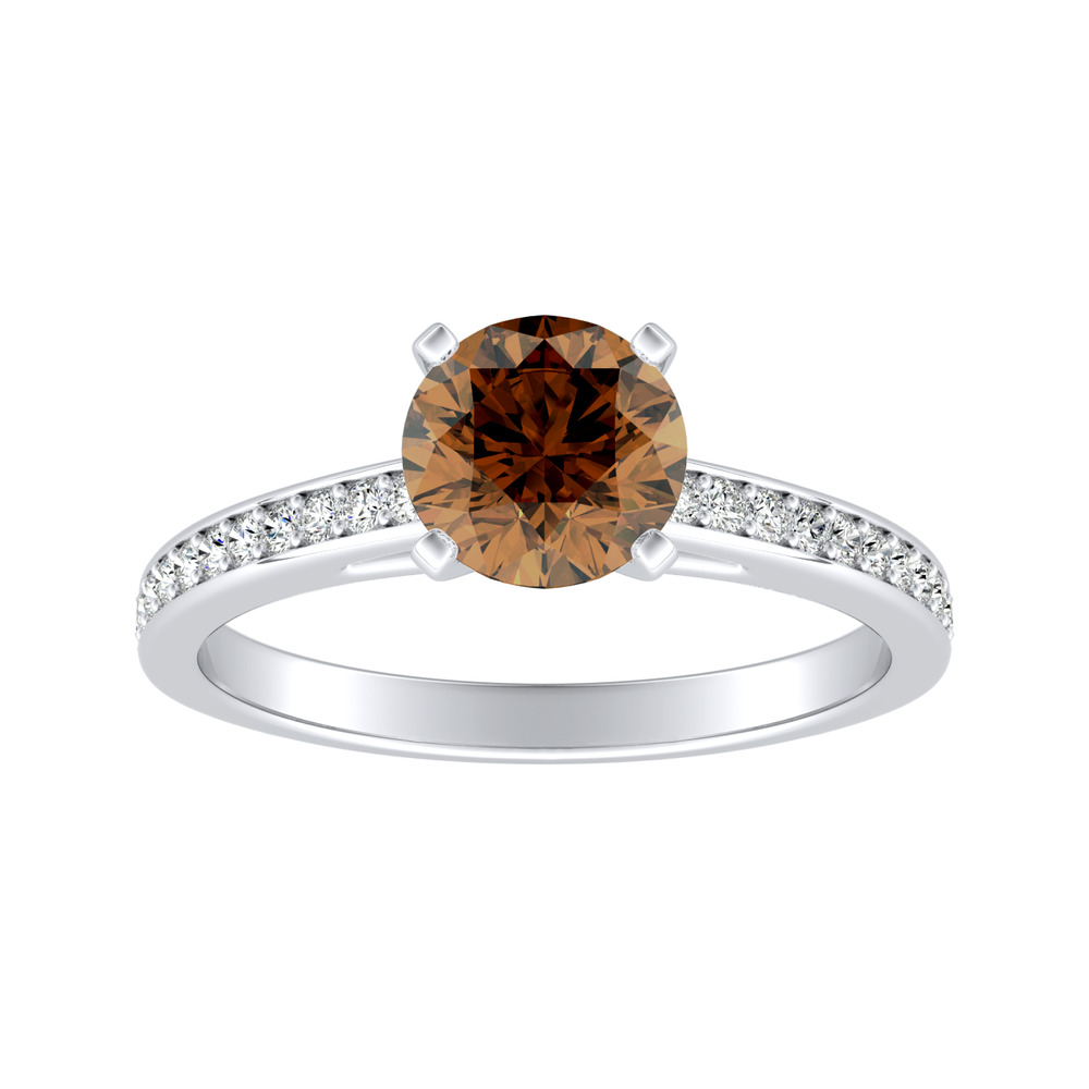 MILA Classic Brown Diamond Engagement Ring In 14K White Gold With 0.30 Carat Round Diamond