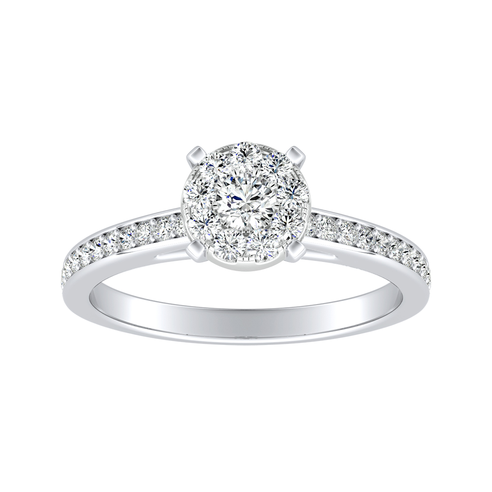 MILA Classic Diamond Engagement Ring In 14K White Gold With Round Diamond In H-I SI1-SI2 Quality