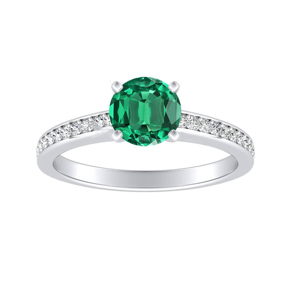 MILA Classic Green Emerald Engagement Ring In 14K White Gold With 0.50 Carat Round Stone