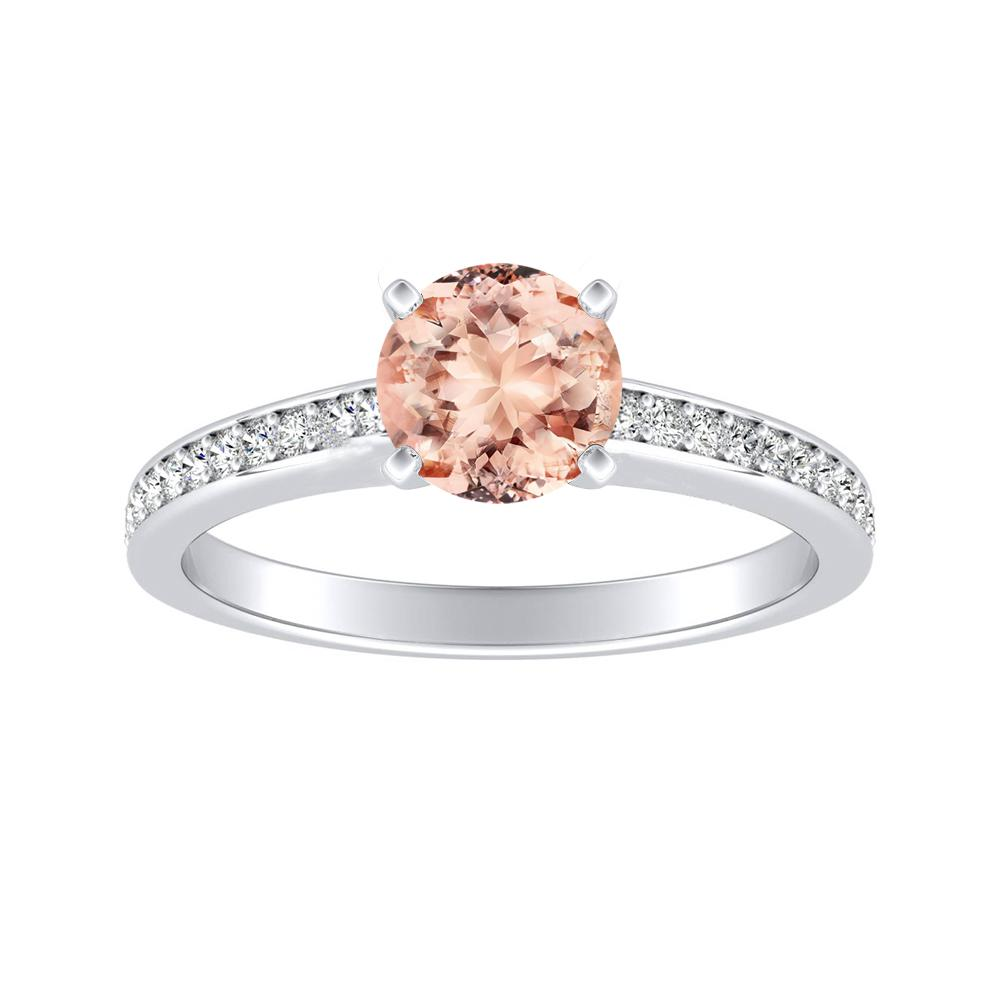 MILA Classic Morganite Engagement Ring In 14K White Gold With 1.00 Carat Round Stone