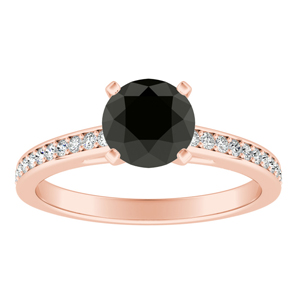 MILA Classic Black Diamond Engagement Ring In 14K Rose Gold With 1.00 Carat Round Diamond